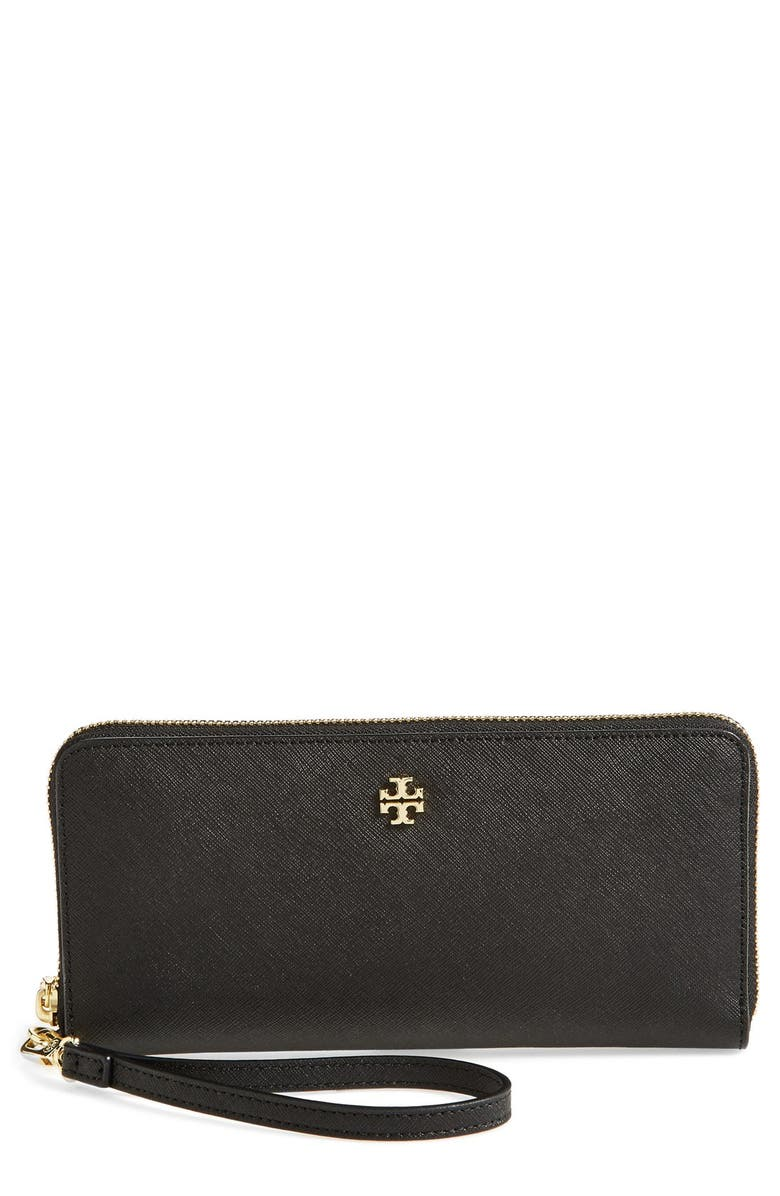 TORY BURCH 'York' Leather Continental Wallet, Main, color, 001