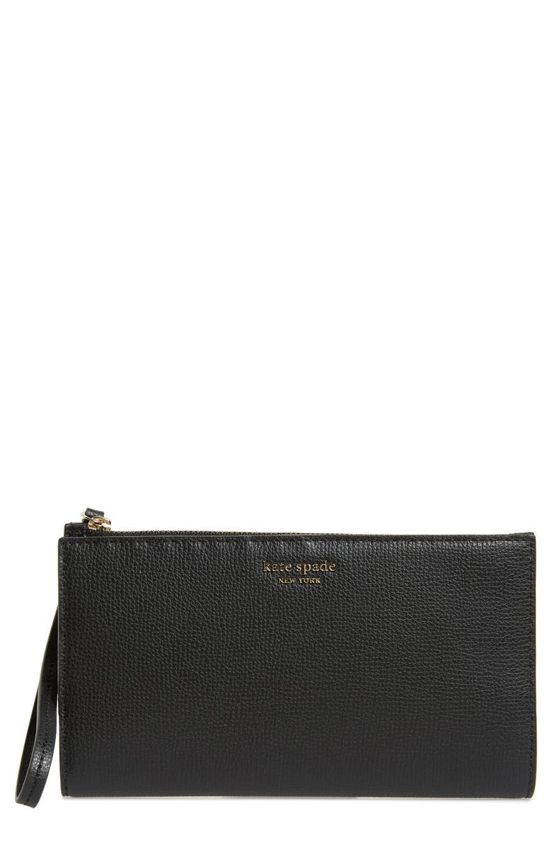 KATE SPADE NEW YORK large sylvia leather wristlet, Main, color, BLACK