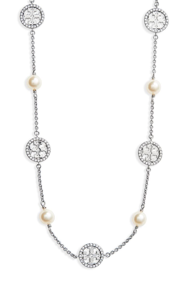 TORY BURCH Crystal & Imitation Pearl Necklace, Main, color, 040