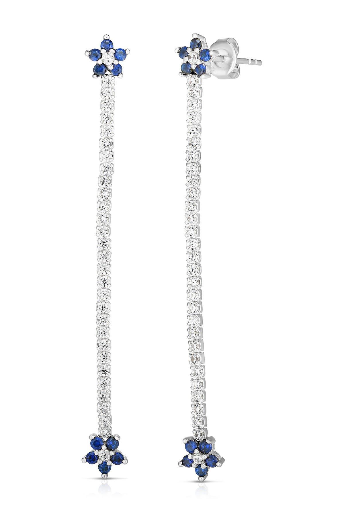 Sphera Milano 18K White Gold Plated Sterling Silver CZ Flower Tennis Earrings at Nordstrom Rack