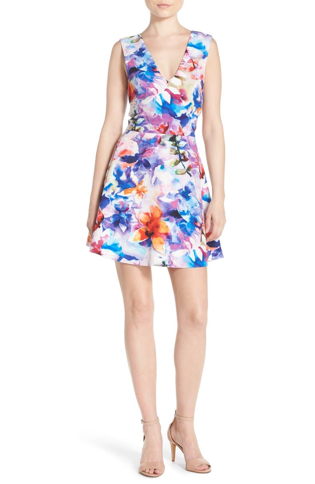 ,                             Bianca Back Cutout Fit & Flare Dress,                             Alternate thumbnail 52, color,                             425