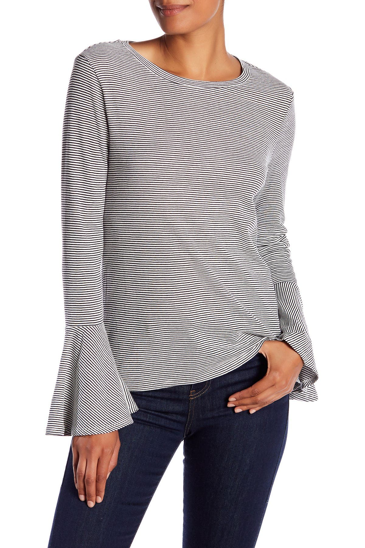 Image of Philosophy Apparel Bell Sleeve Striped Tee
