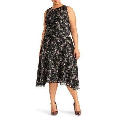 Plus Size Rachel Roy Collection Floral Print Midi Dress, Black