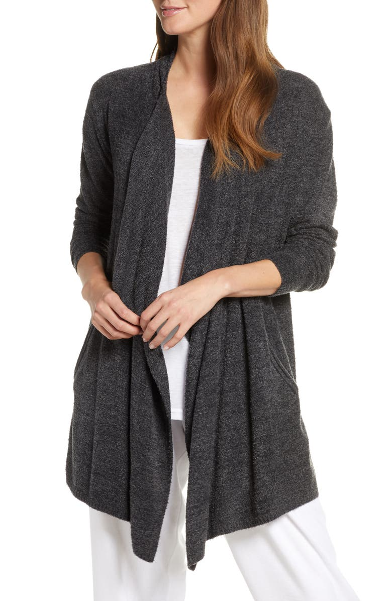 BAREFOOT DREAMS<SUP>®</SUP> CozyChic<sup>™</sup> Lite Island Cardigan, Main, color, HEATHER CARBON/ BLACK