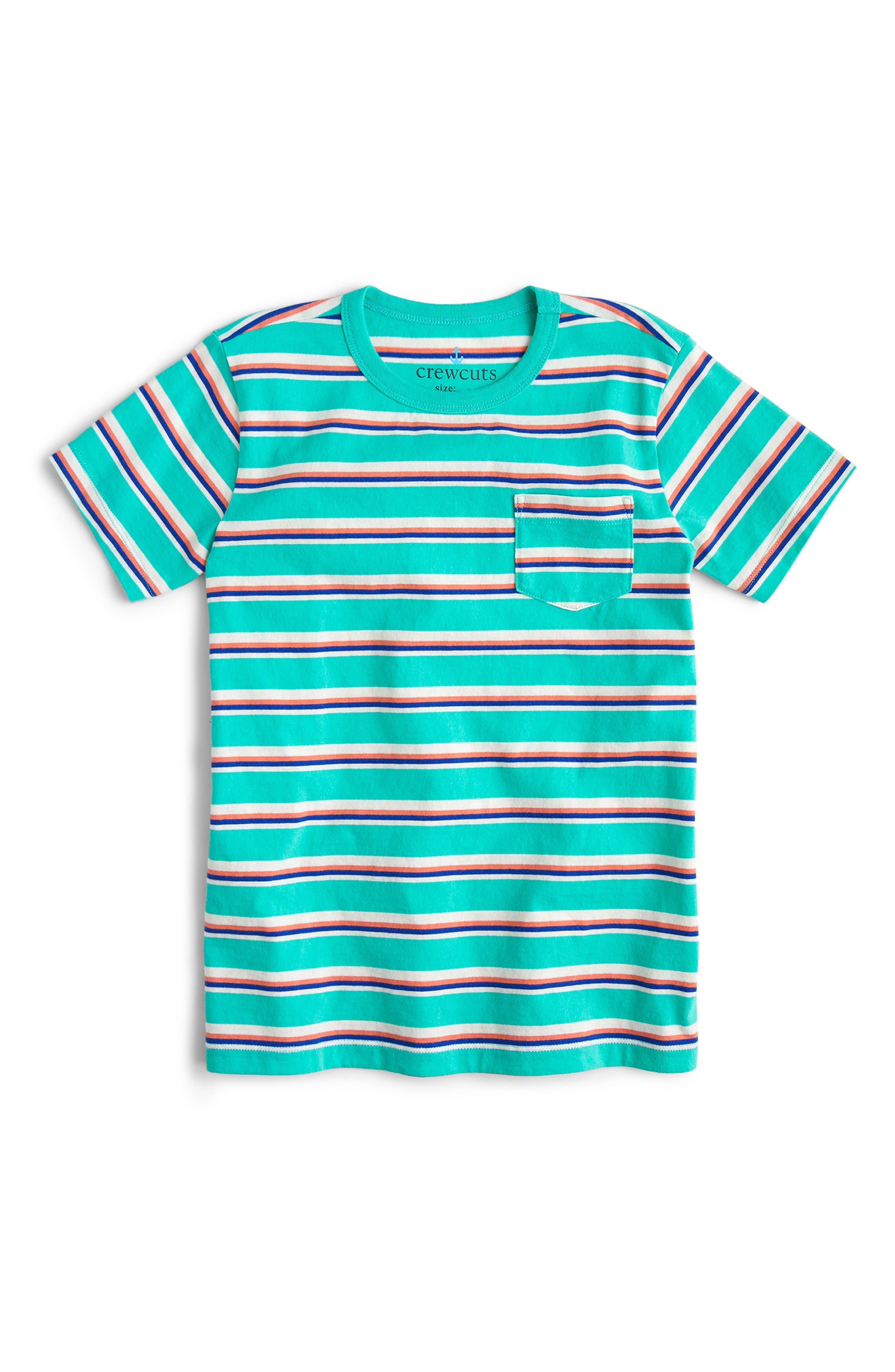 Boys Crewcuts By Jcrew Stripe Pocket TShirt Size 10  Bluegreen