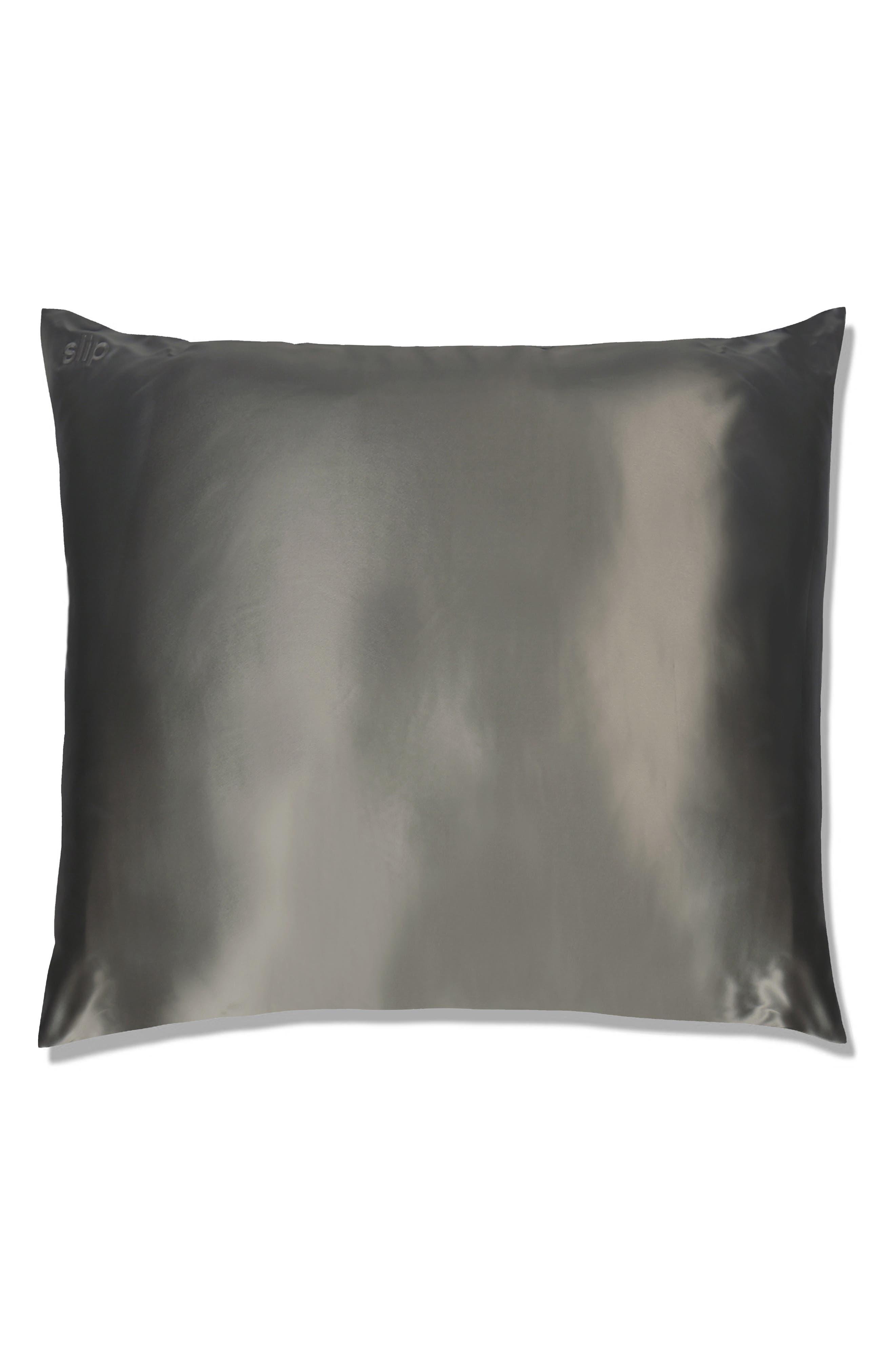 slip<sup>™</sup> for beauty sleep Slipsilk<sup>™</sup> Euro Pillowcase, Main, color, CHARCOAL