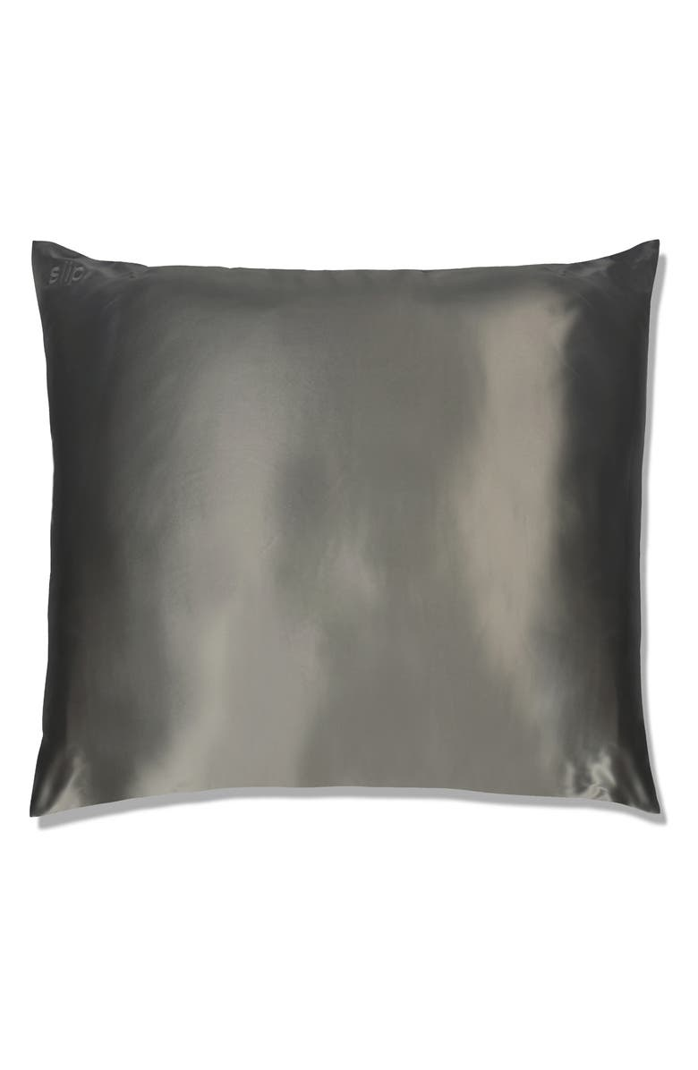 SLIP FOR BEAUTY SLEEP slip<sup>™</sup> for beauty sleep Slipsilk<sup>™</sup> Euro Pillowcase, Main, color, CHARCOAL