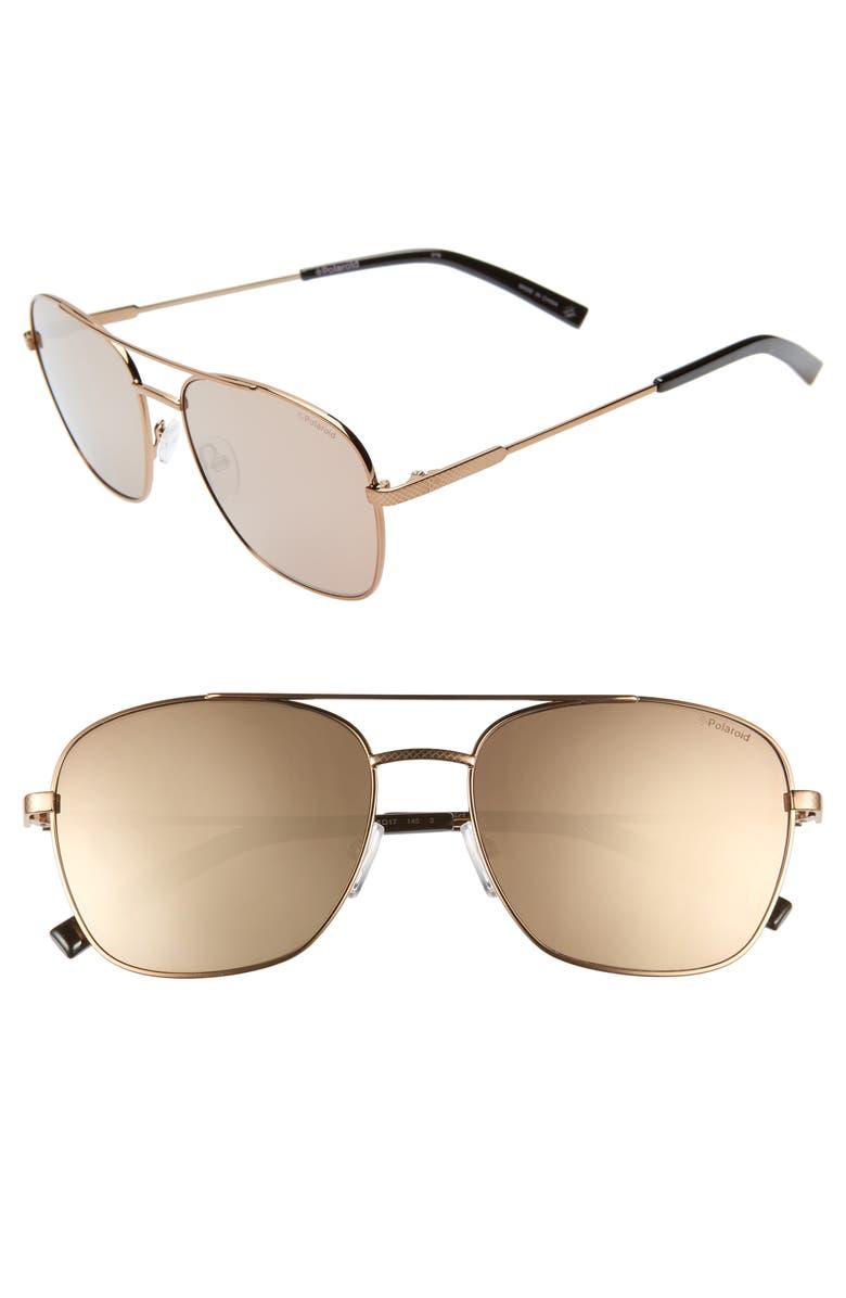 POLAROID Polarioid 58mm Polarized Navigator Sunglasses, Main, color, BRONZE