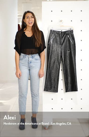 Lily Straight Leg Faux Leather Trousers, sales video thumbnail