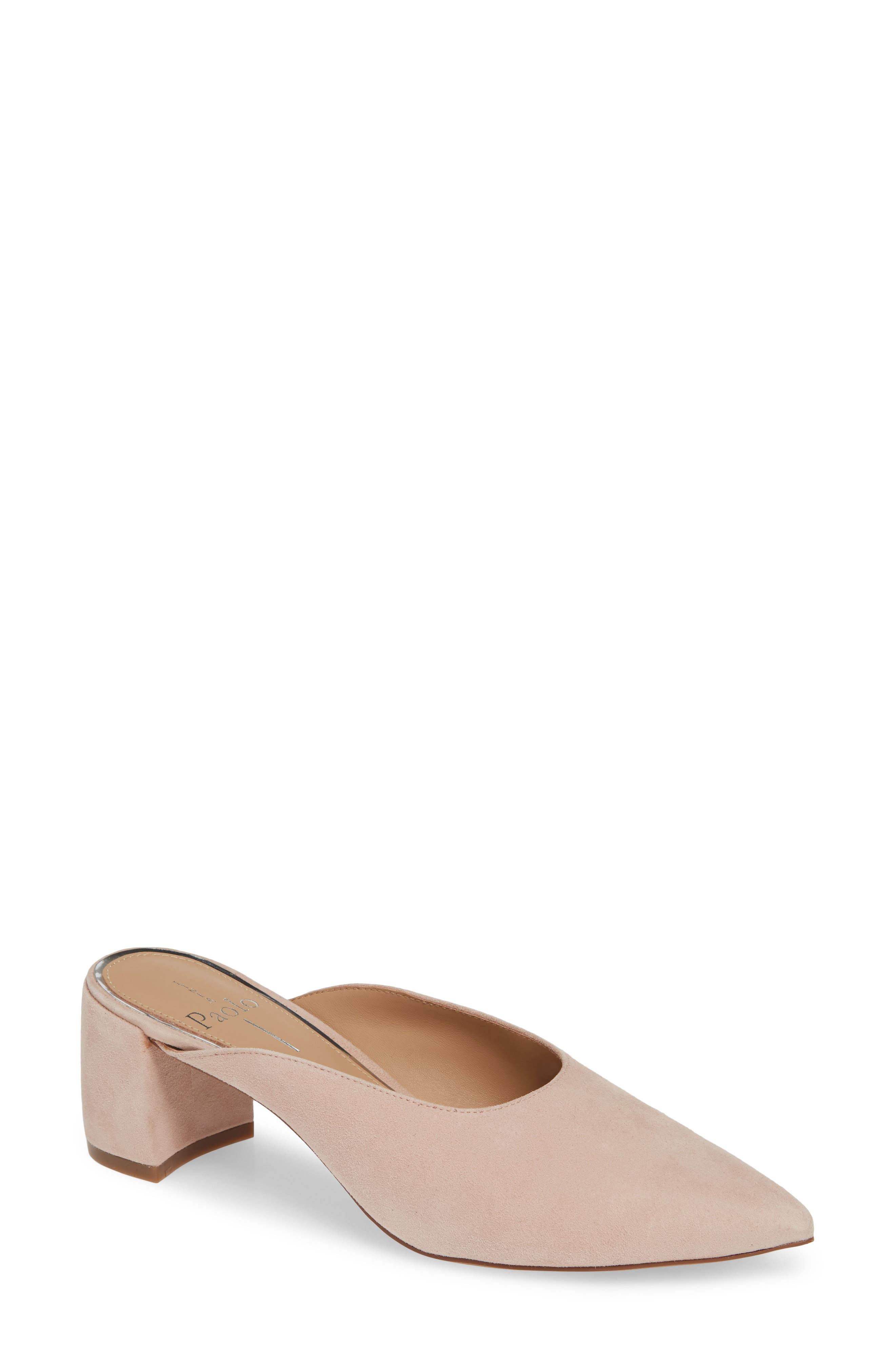 A curved block heel and U-shaped topline balance the dramatically pointed toe of a day-to-night mule with versatile appeal. Style Name: Linea Paolo Zadie Pointy Toe Mule (Women). Style Number: 5655349. Available in stores.