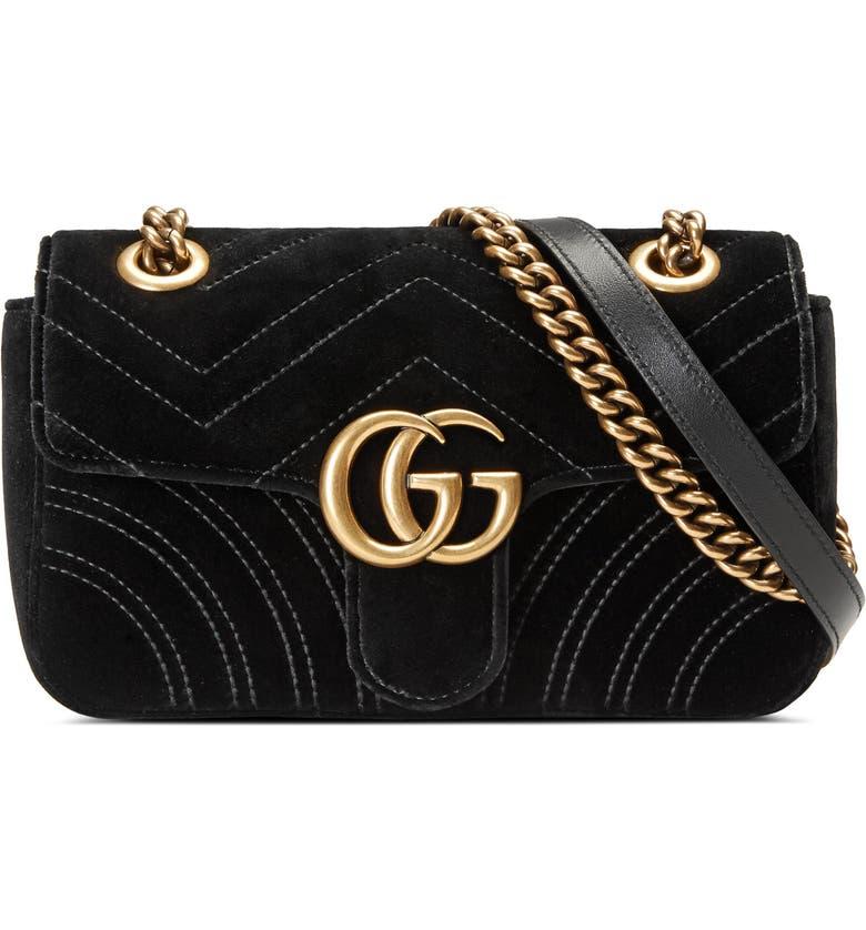 5b0b91065 Small GG Marmont 2.0 Matelassé Velvet Shoulder Bag, Main, color, NERO