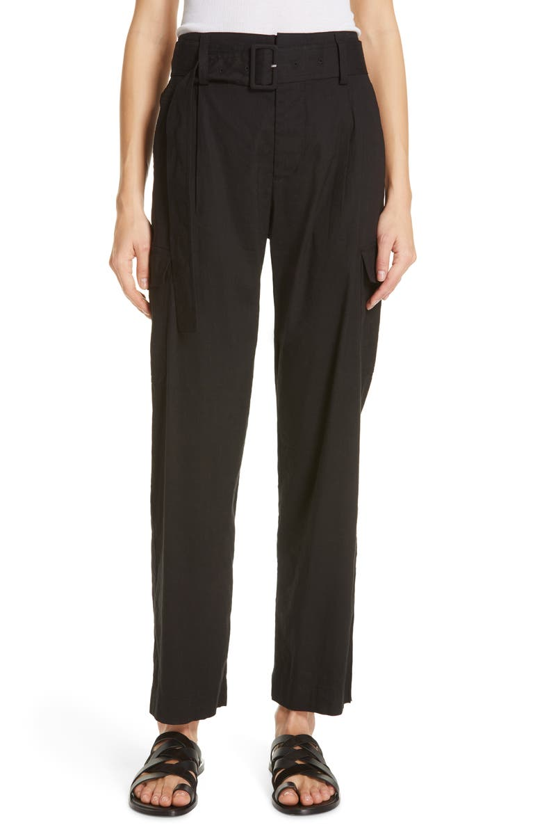 VINCE Belted Linen Blend Pants, Main, color, BLACK