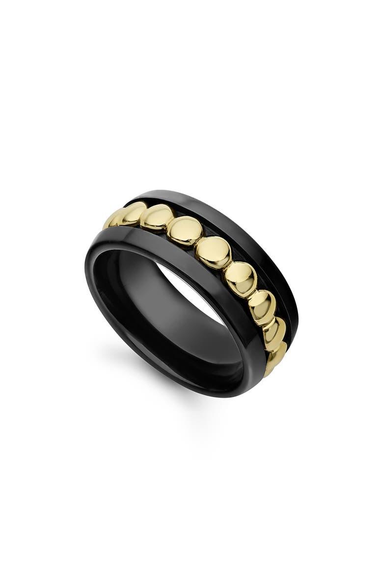LAGOS Gold & Black Caviar Stack Ring, Main, color, 710