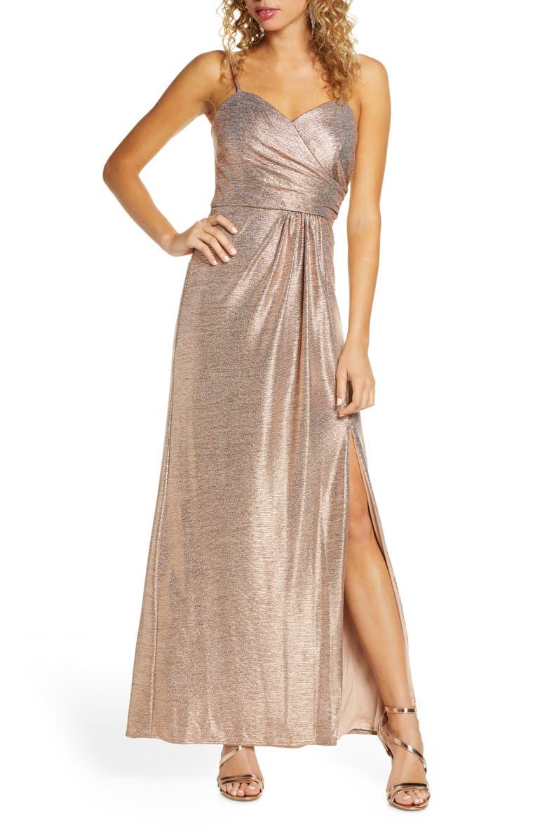MORGAN & CO. Shimmer Front Slit Gown, Main, color, ROSE GOLD