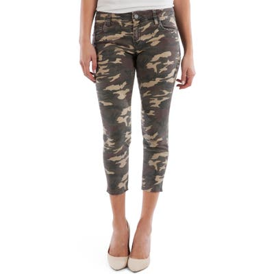 Kut From The Kloth Connie Camo Raw Hem Crop Skinny Jeans, Green