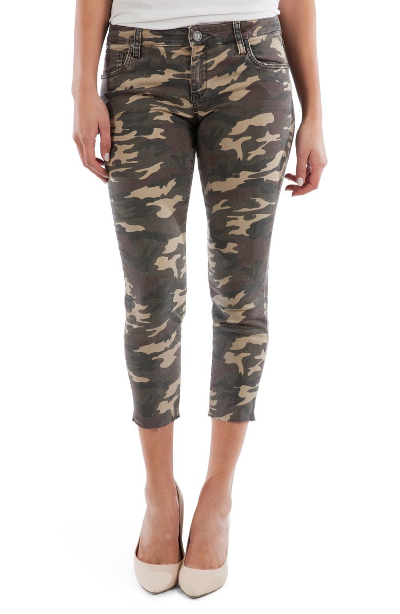 KUT FROM THE KLOTH Connie Camo Raw Hem Crop Skinny Jeans, Main, color, OLIVE