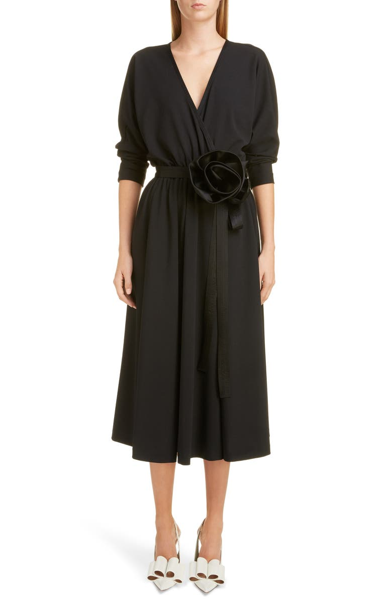 MARC JACOBS Rosette Belt Wrap Dress, Main, color, 001