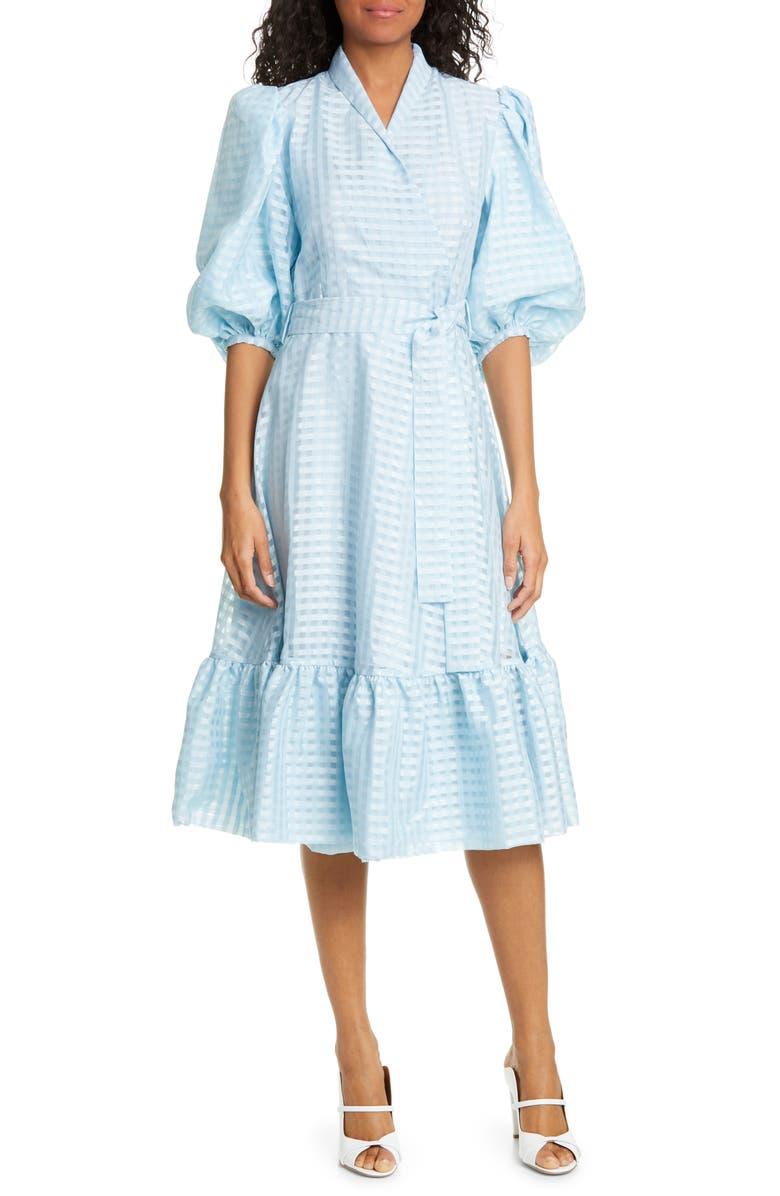 STINE GOYA Chinie Midi Wrap Dress, Main, color, ICE