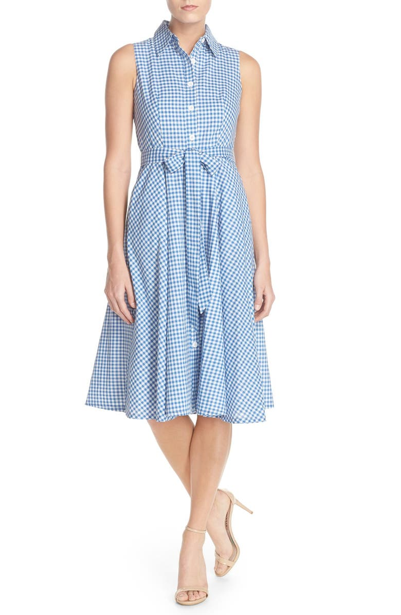 CHETTA B Gingham Shirtdress, Main, color, 430