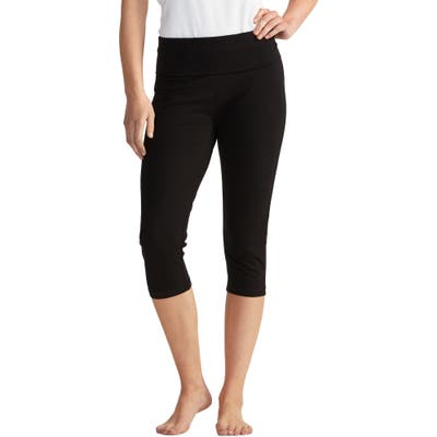 The White Company Roll Top Crop Yoga Pants, Black