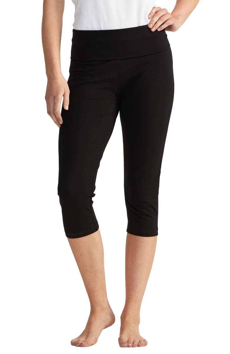 THE WHITE COMPANY Roll Top Crop Yoga Pants, Main, color, BLACK