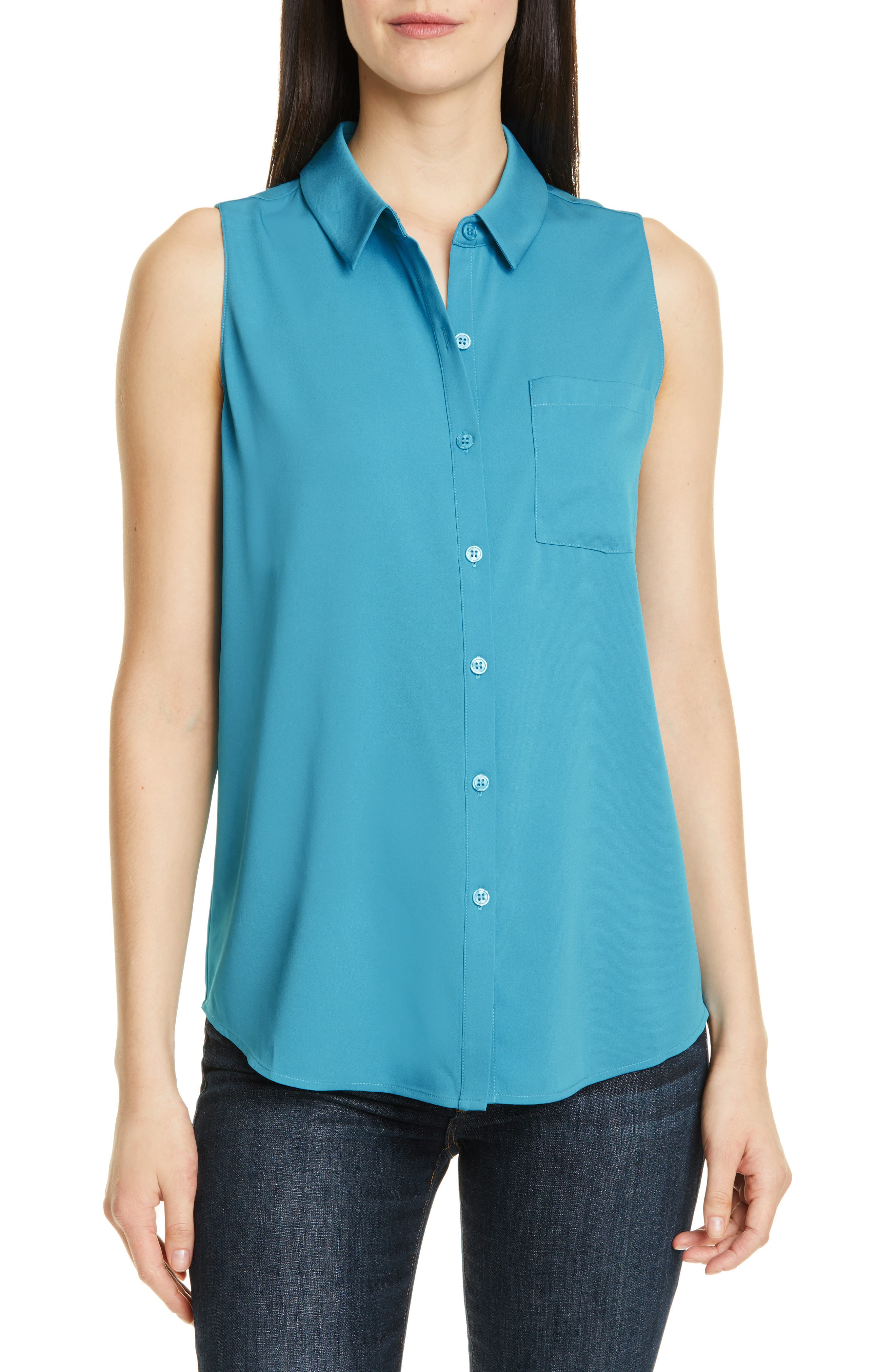 Nordstrom Signature Sleeveless Stretch Silk Shirt, Blue