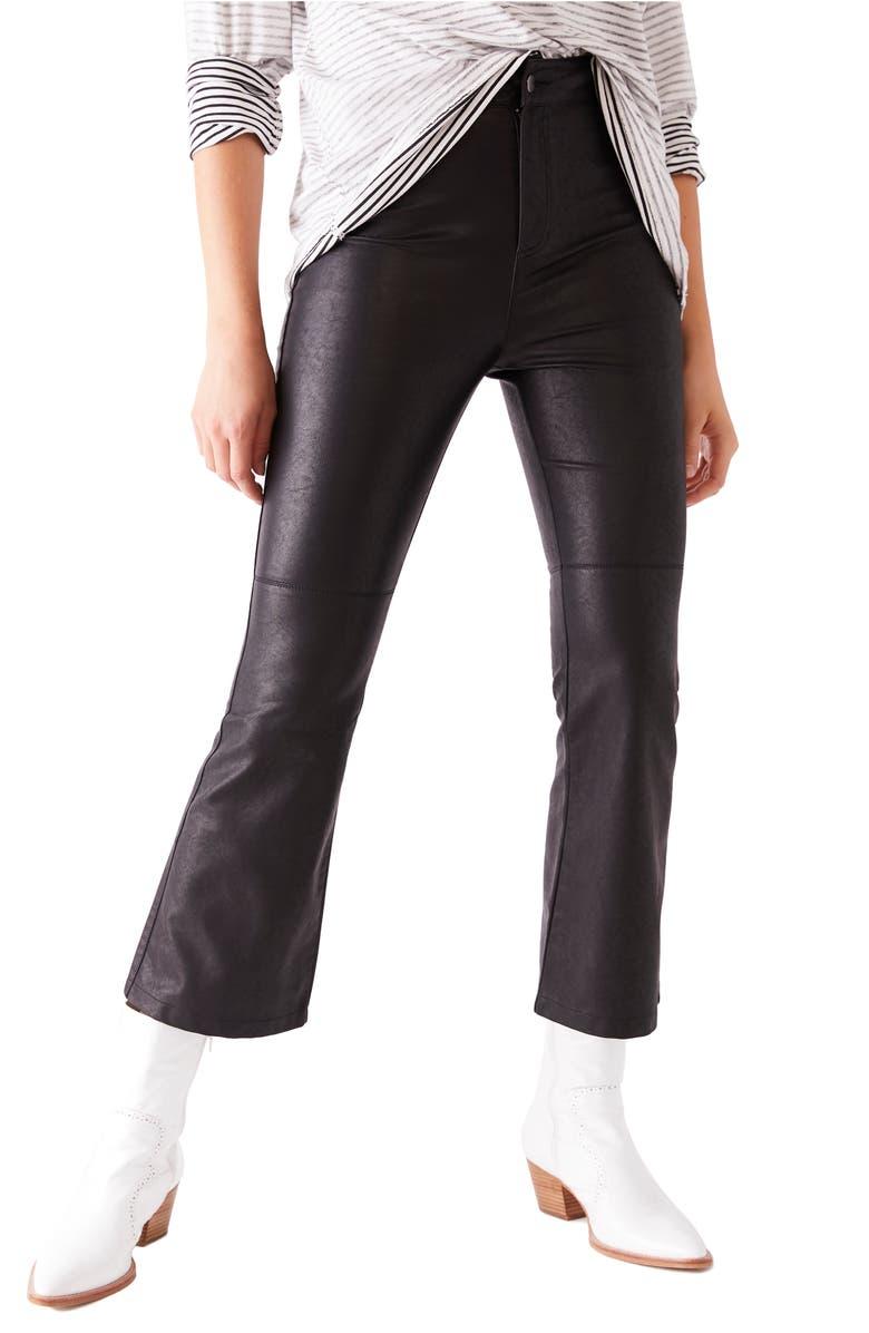FREE PEOPLE Sasha Crop Faux Leather Pants, Main, color, BLACK