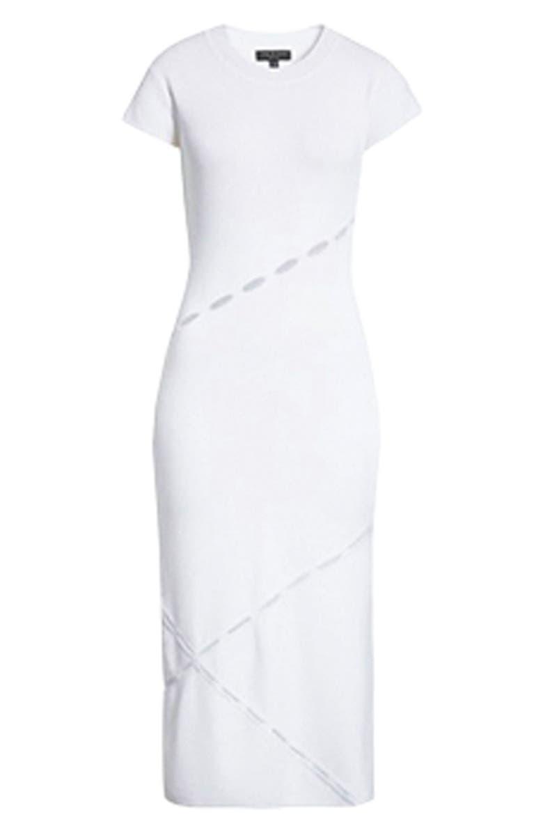 RAG & BONE Eden Slash Detail Midi Dress, Main, color, 100