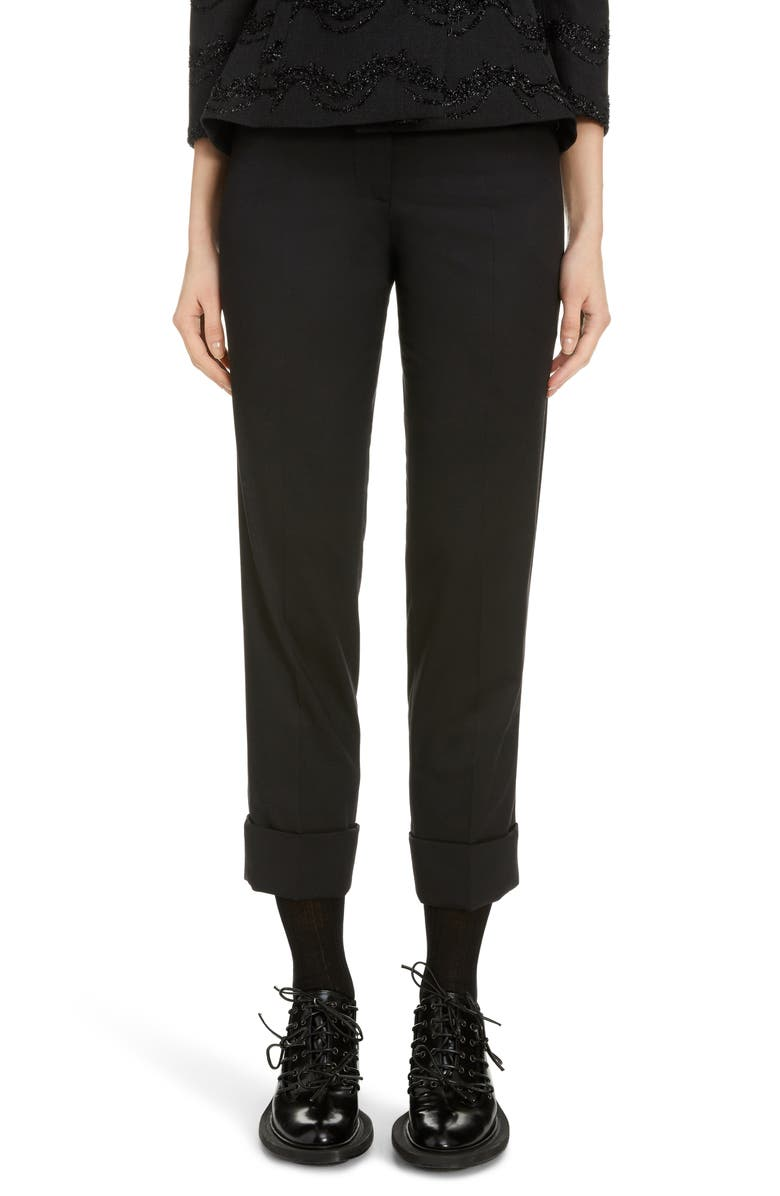 SIMONE ROCHA Frill Straight Leg Stretch Wool Pants, Main, color, BLACK