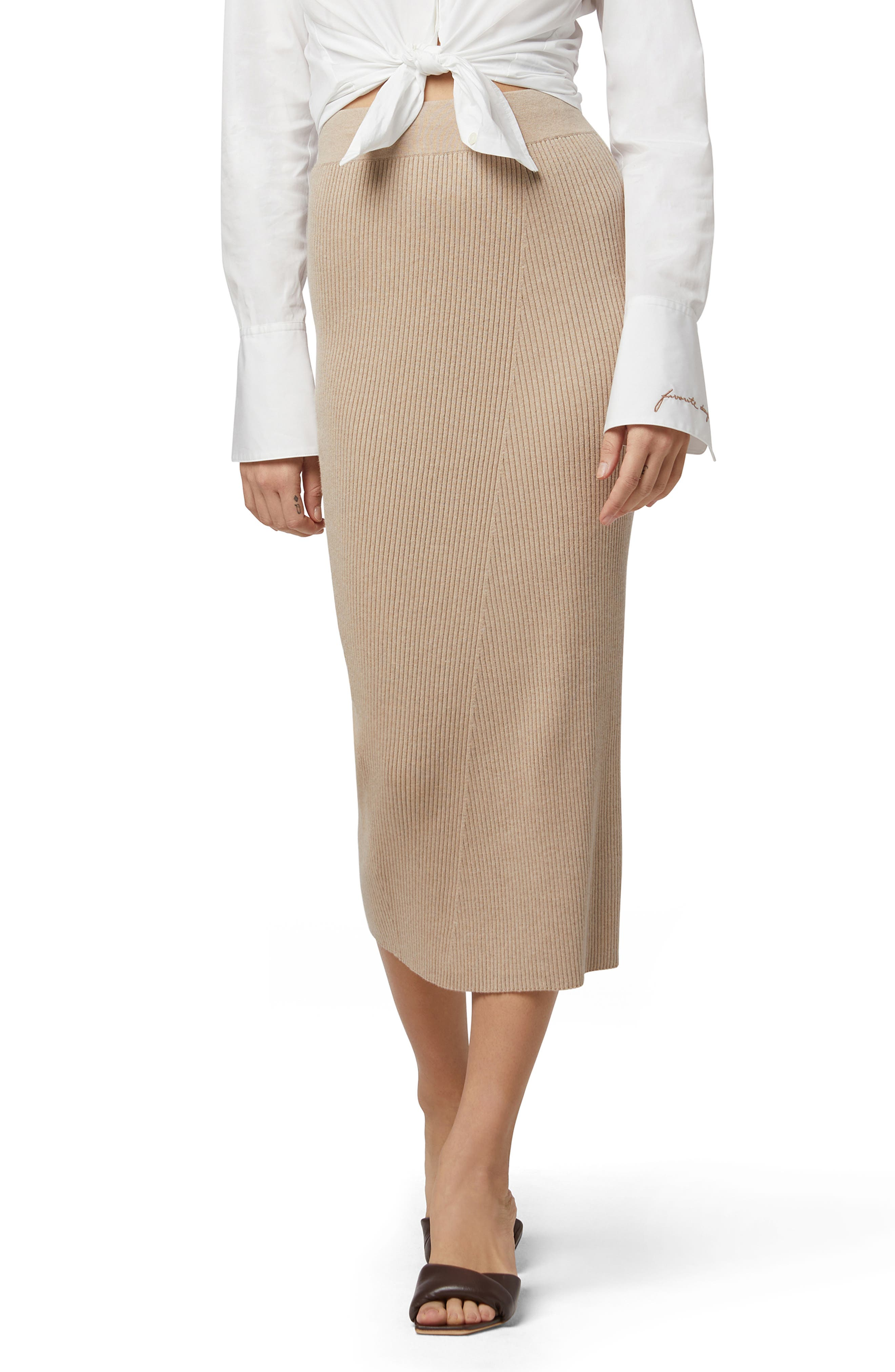 Ribbed Cotton & Cashmere Skirt