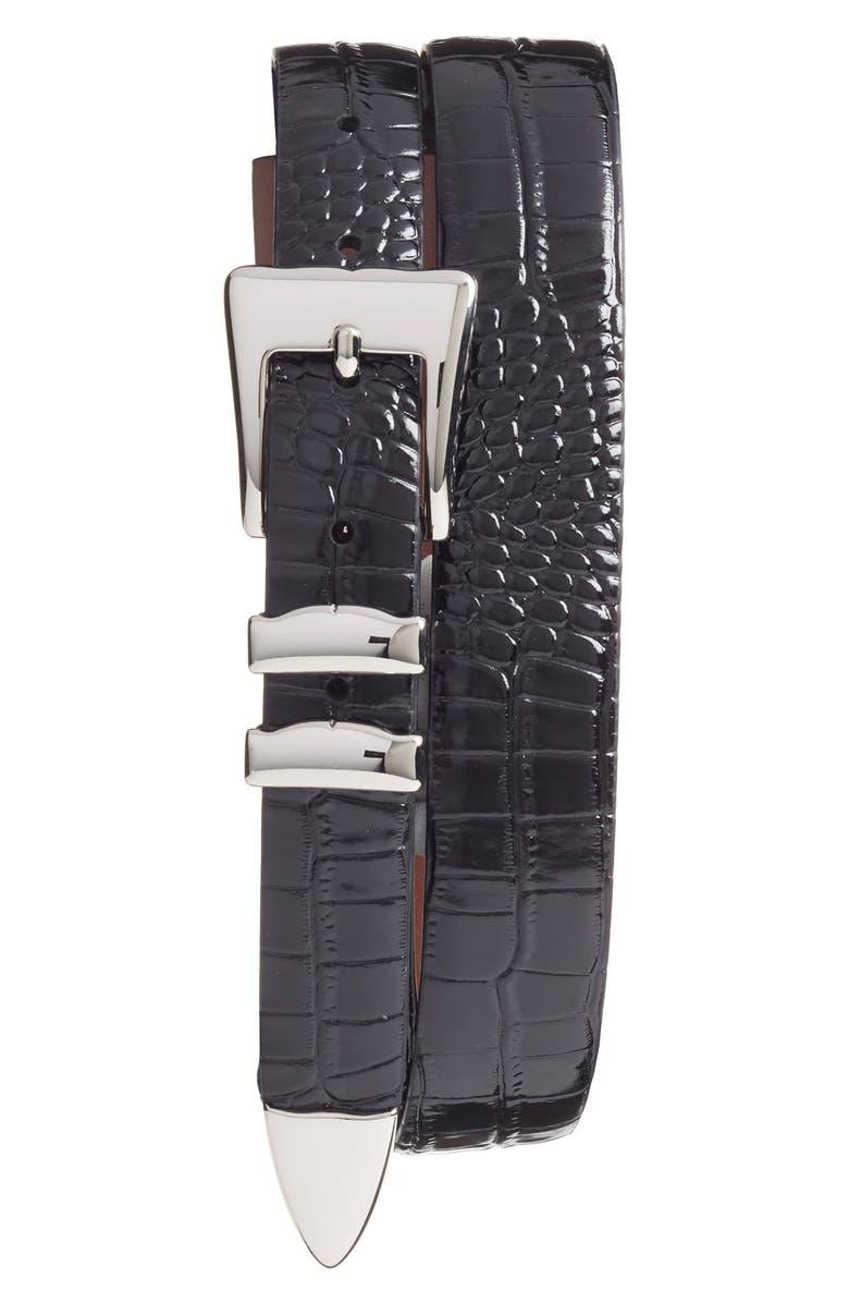 TORINO Alligator Embossed Leather Belt, Main, color, BLACK