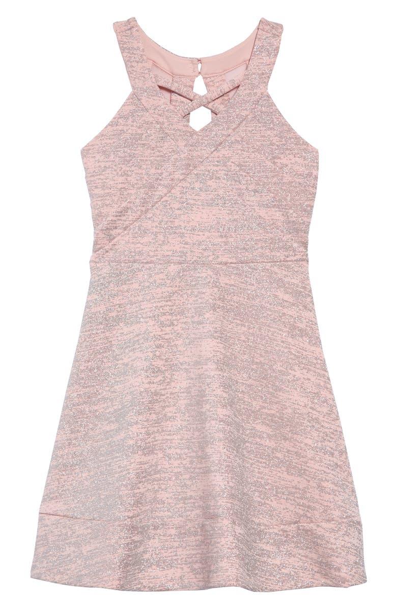 LOVE, NICKIE LEW Metallic Skater Dress, Main, color, BLUSH/ SILVER