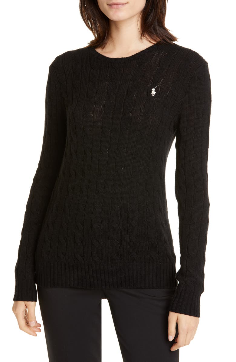 POLO RALPH LAUREN Cable Knit Sweater, Main, color, POLO BLACK