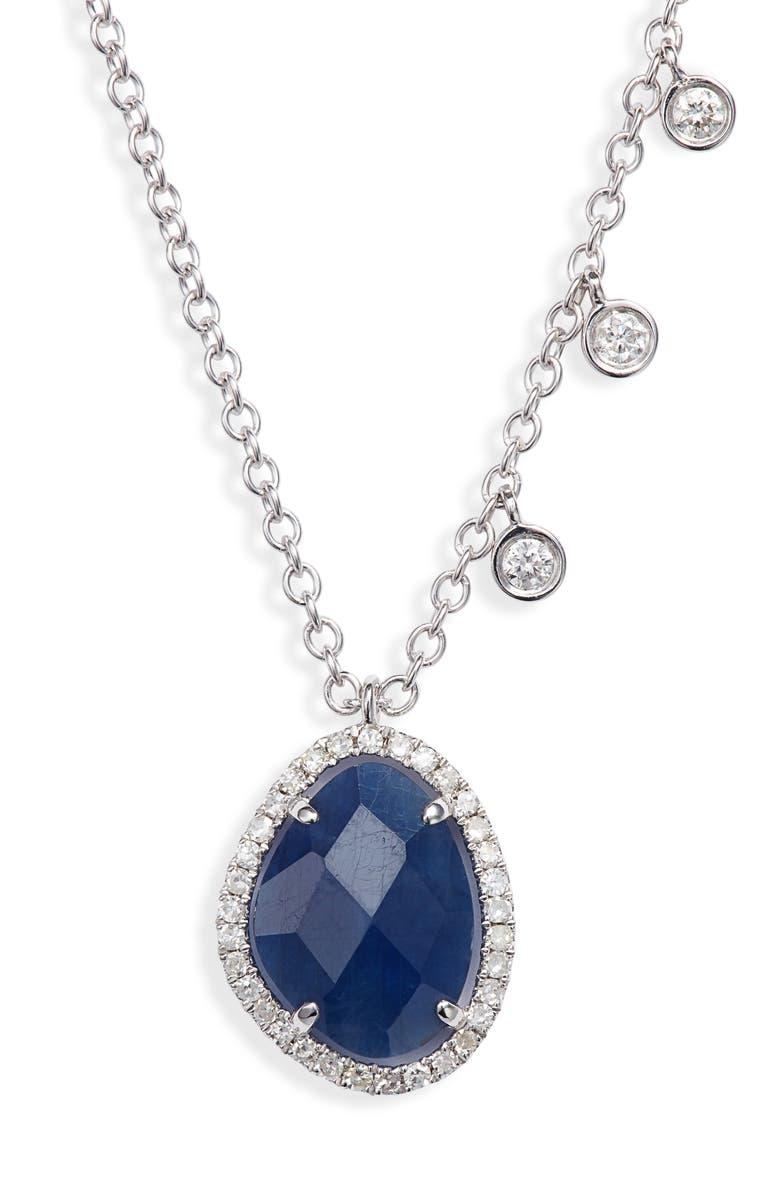 MEIRA T Sapphire & Diamond Pendant Necklace, Main, color, YELLOW GOLD