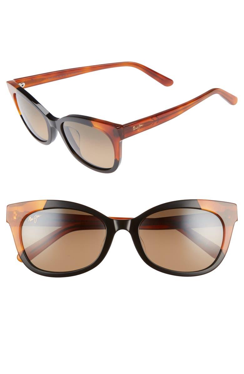 MAUI JIM Ilima 53mm PolarizedPlus2<sup>®</sup> Cat Eye Sunglasses, Main, color, GLOSS BLACK/ BOURBON TORTOISE