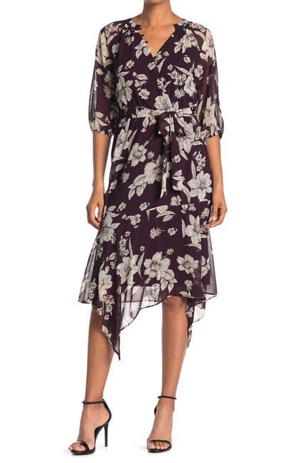 Image of Gabby Skye Floral 3/4 Sleeve Faux Wrap Midi Dress