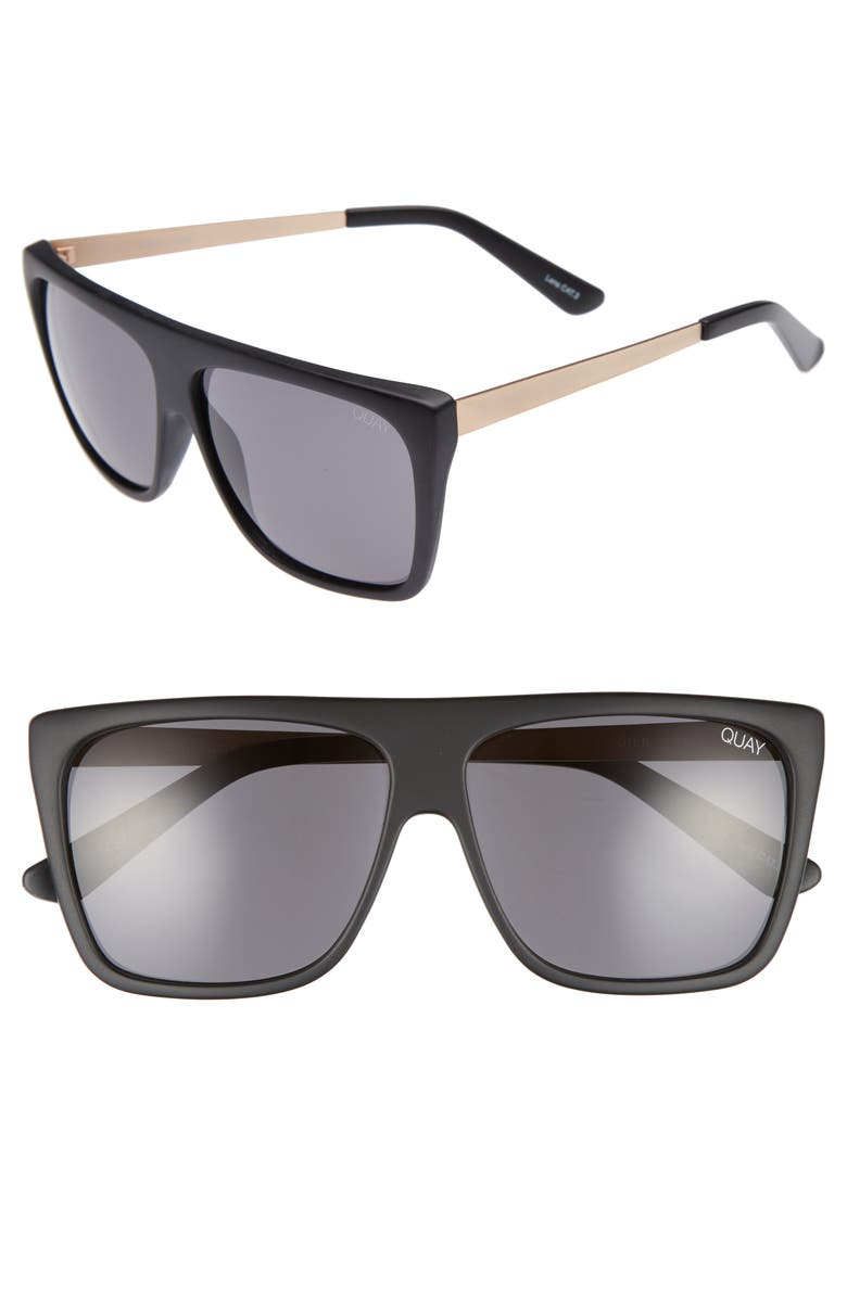 QUAY AUSTRALIA x Desi Perkins On the Low 60mm Square Sunglasses, Main, color, BLACK/ SMOKE