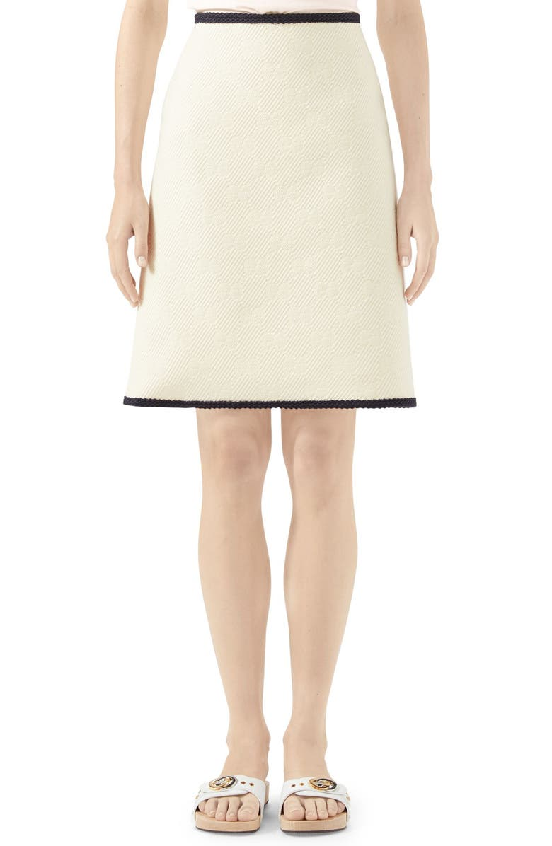 GUCCI GG Logo Embossed Jacquard Skirt, Main, color, GARDENIA/ MIX