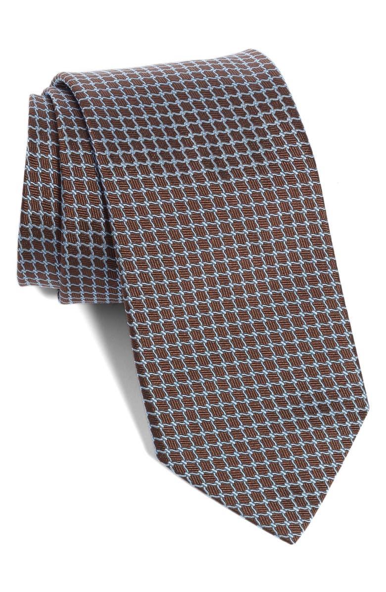 ETON Geometric Silk Tie, Main, color, BROWN