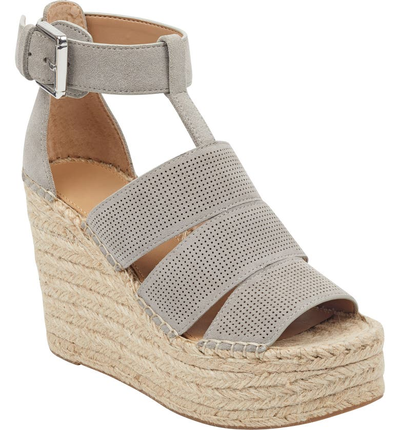 MARC FISHER LTD Adore Platform Wedge Sandal, Main, color, NEW GREY SUEDE