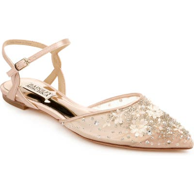 Badgley Mischka Carissa Embroidered Flat- Pink