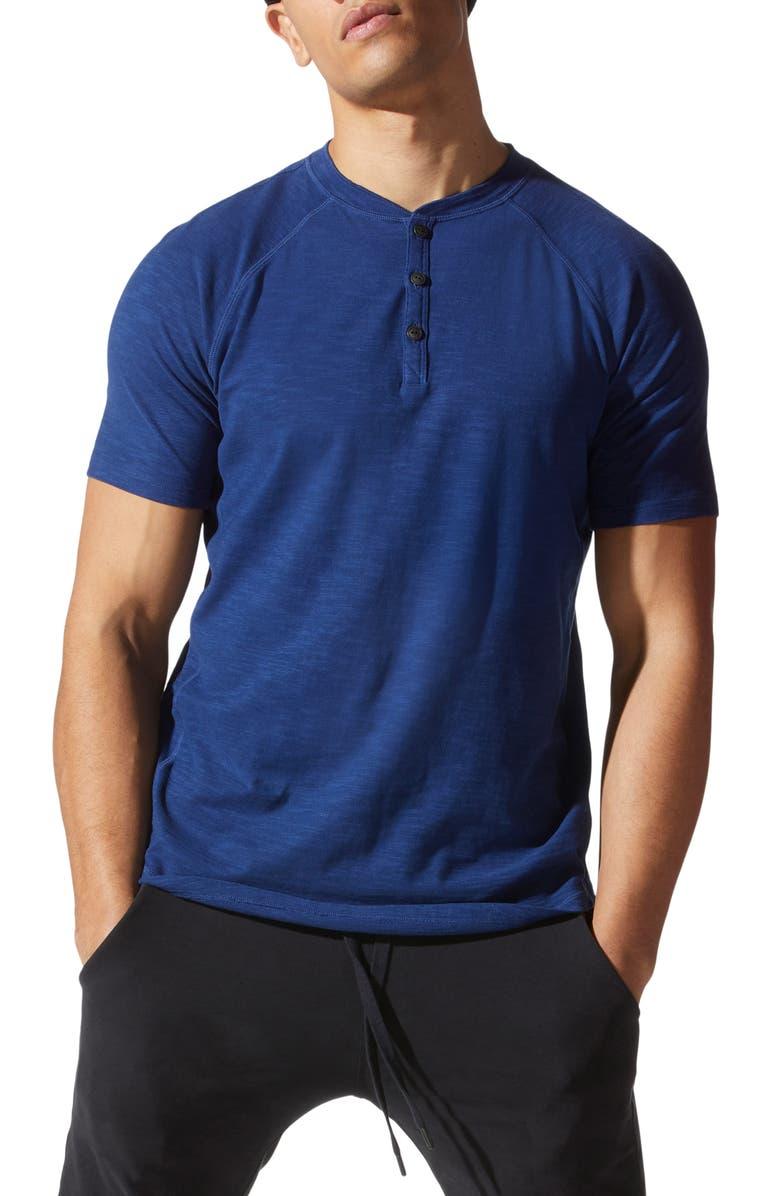 GOOD MAN BRAND Legend Short Sleeve Slubbed Henley, Main, color, BLUE
