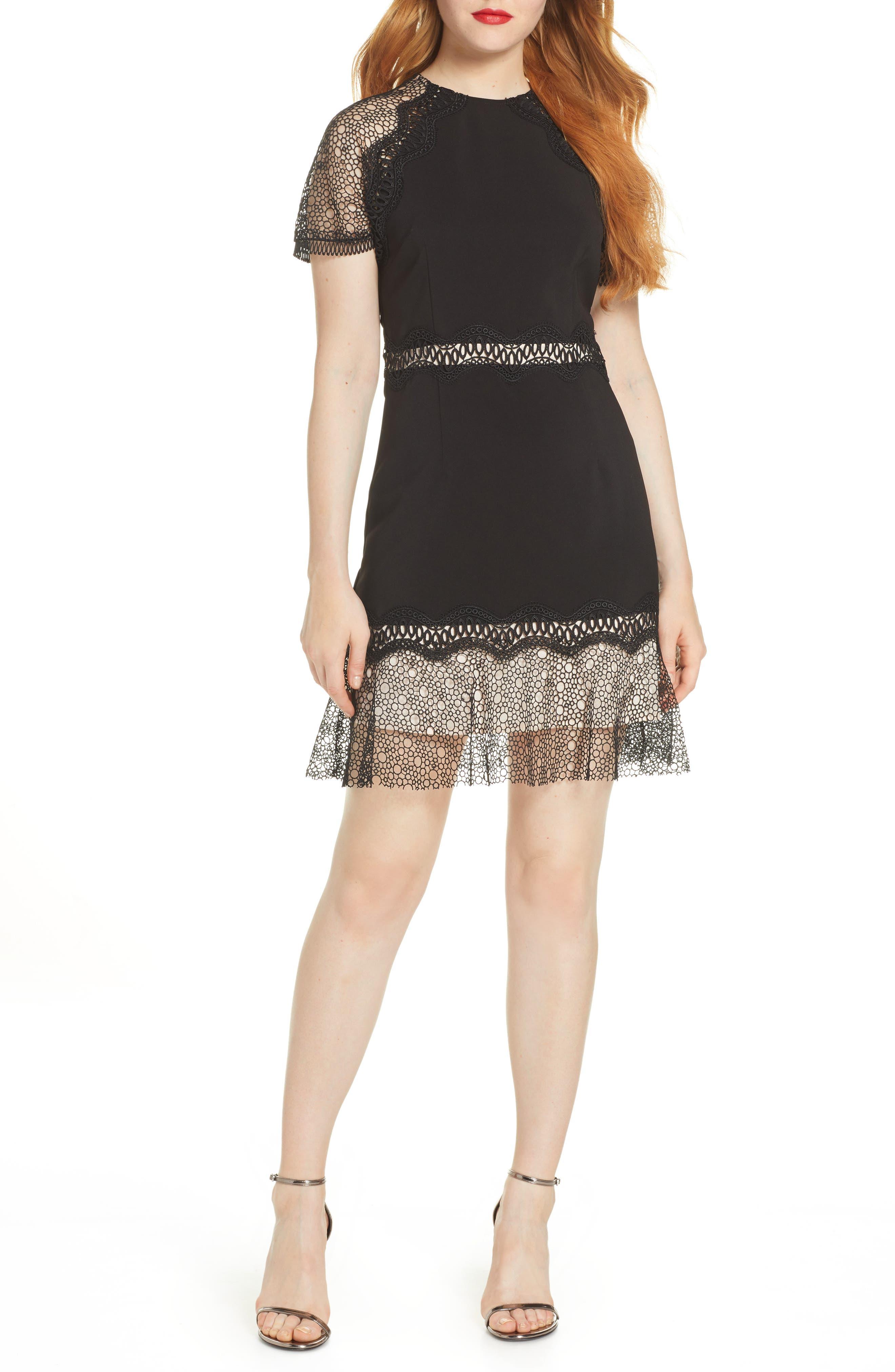 Foxiedox Lace Ruffled Hem Cocktail Dress, Black
