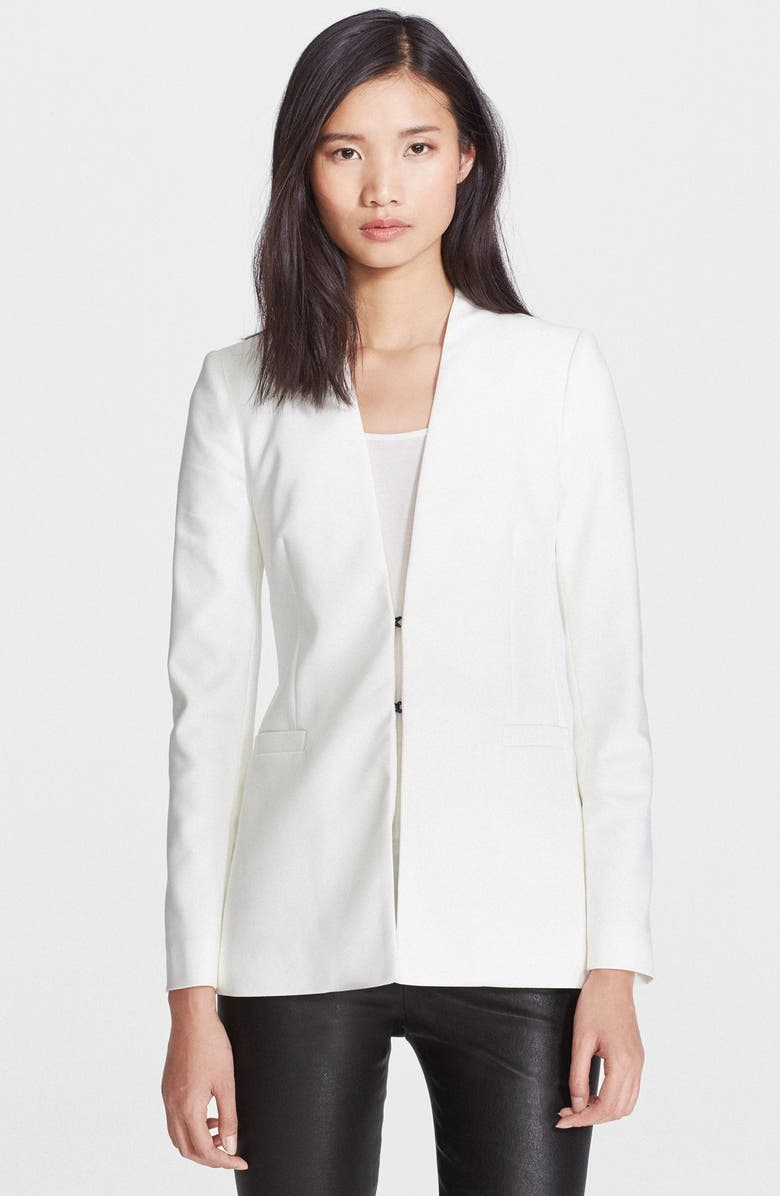 ALICE + OLIVIA Long Collarless Blazer, Main, color, 100