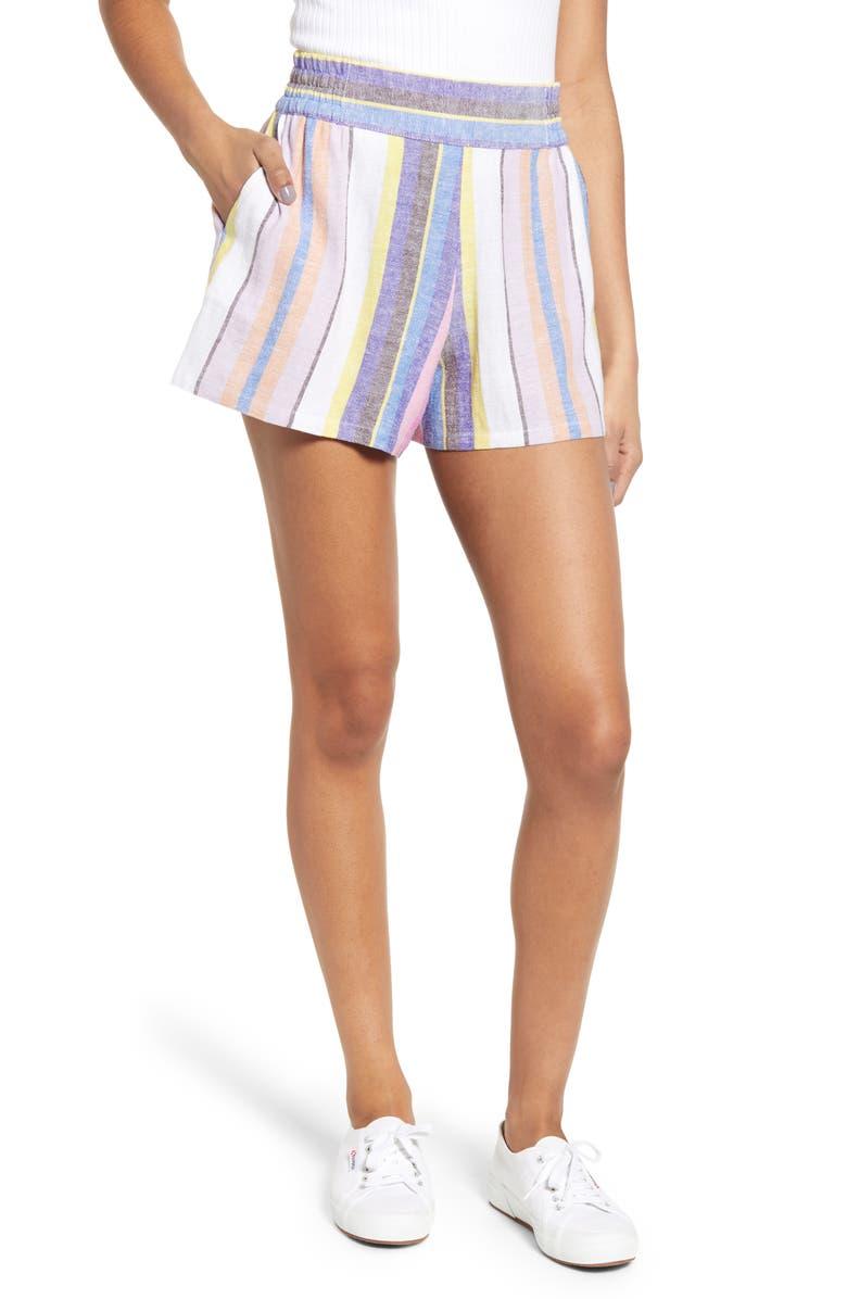 BP. Stripe Linen Blend Shorts, Main, color, 660