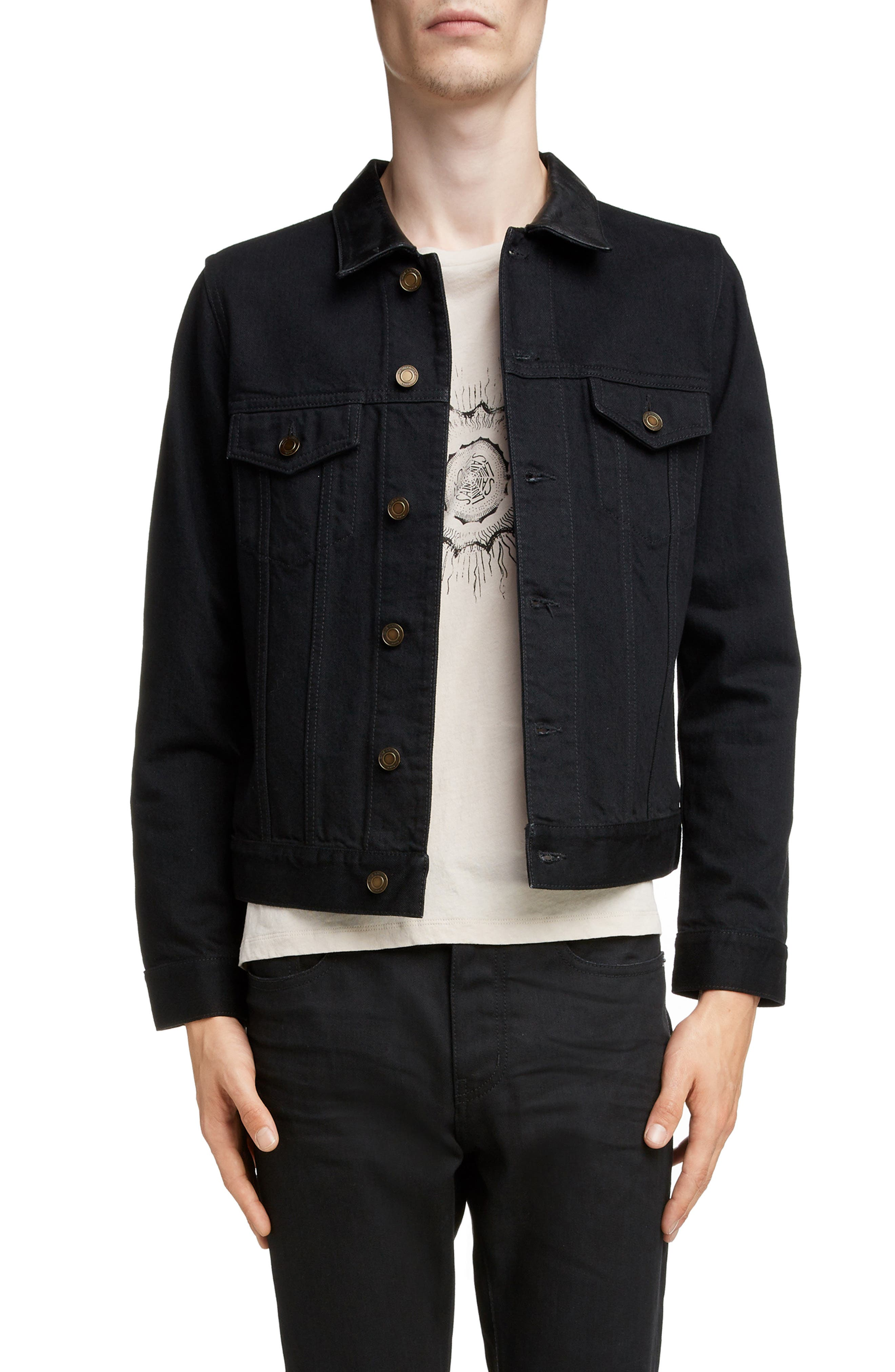 ,                             Fitted Denim Jacket,                             Main thumbnail 1, color,                             WORN BLACK