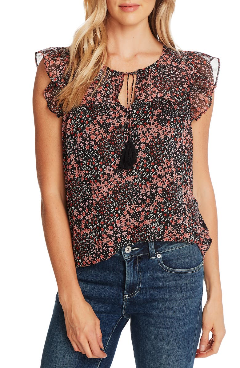 CECE Ditsy Blossom Flutter Sleeve Chiffon Blouse, Main, color, 001
