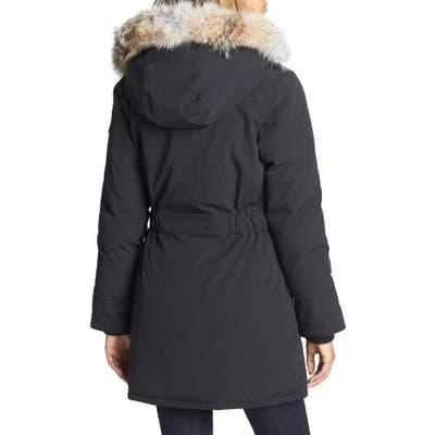 Canada Goose Trillium Regular Fit Down Parka With Genuine Coyote Fur Trim, Black