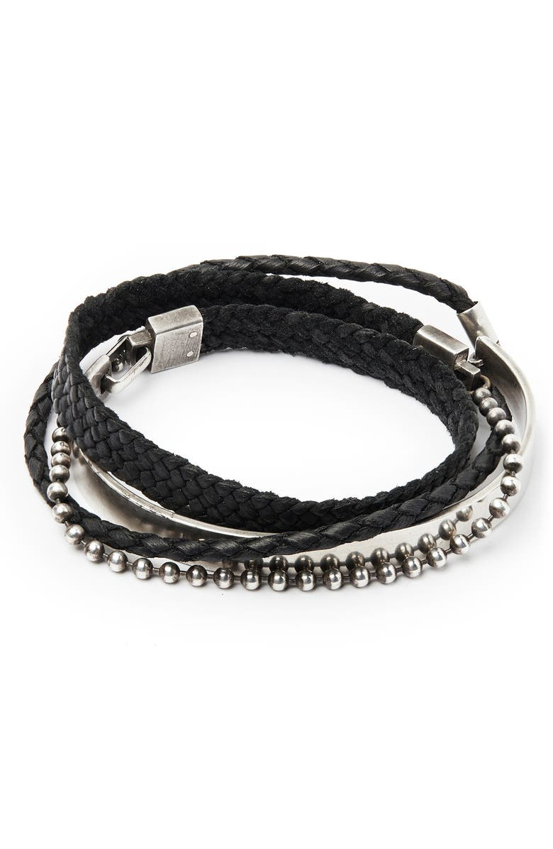 TITLE OF WORK Sterling Silver & Leather Wrap Bracelet, Main, color, 040
