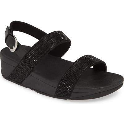 Fitflop Lottie Shimmer Slingback Sandal, Black